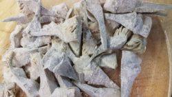 Menestra de Palencia. Los 5 Mejores. Alcachofas cocidas, cortadas y rebozadas.