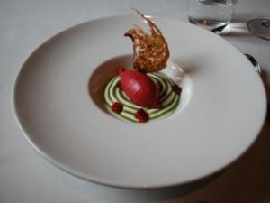 cremoso-de-queso-de-cabra-y-sorbete-de-fresas